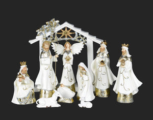 "Nativity Set - 9"" White Gold Nativity - N6T"