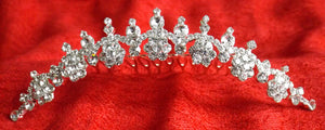 (W) Wedding H - Wedding Hair Jewelled Mini Tiara 13cm x 2cm high P2588-T