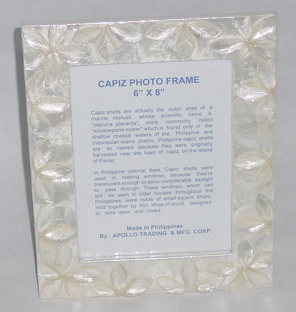 (CA) Handmade Natural Capiz Shell Photo Frame 6 x 8