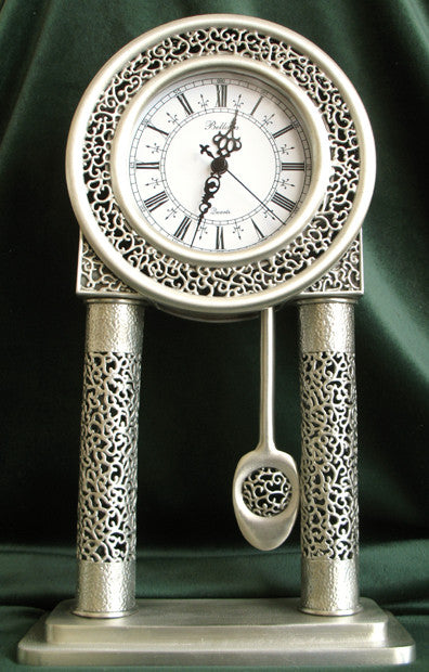(P) Pewter Antique-Like Mantle Clock - LIMITED EDITION! PM-093S