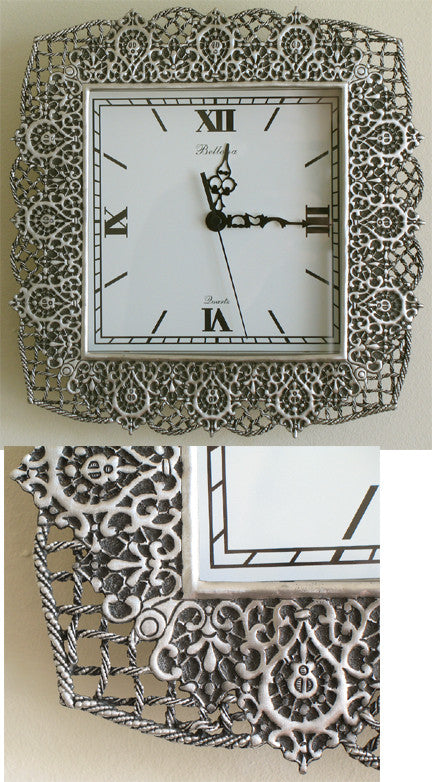 (P) Pewter Wall Clock 27.0 x 28.0 x 4.5cm Dial 17.0 x 17.0 cm PM-054
