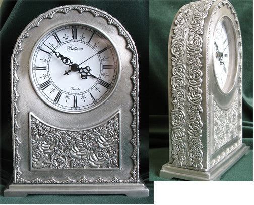 (P) Pewter Antique-Like Mantle Clock - LIMITED EDITION! PM-082