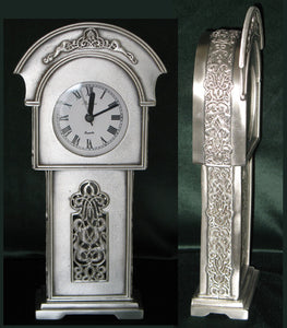 (P) Pewter Mantle Grandfather Clock 13.9 x 27.9 x 5.6 cm PM-084
