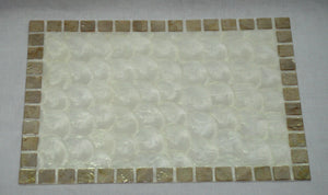 "(CA) Handmade Capiz Shell Mat with Border 13"" x 18"" SOLD OUT!"