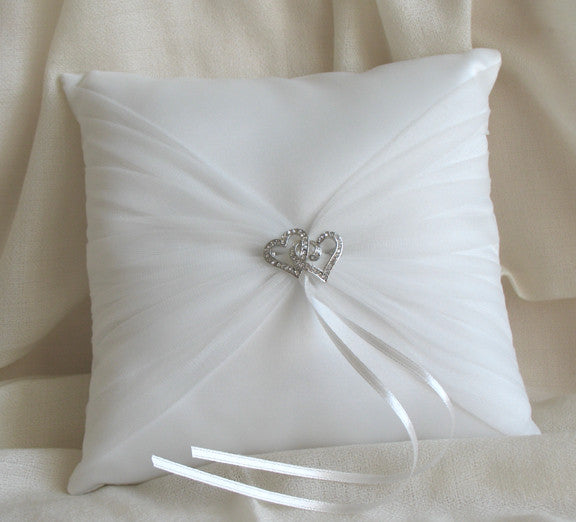 (W) Wedding P - Twin Heart Ring Bearer Pillow - Ivory RPOI116-T or White RPW116-T