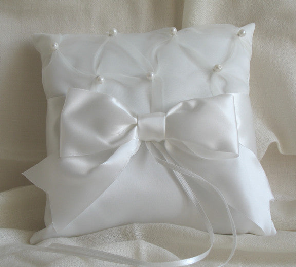 (W) Wedding P - Satin with Organza, Pearls and Large Satin Bow Ring Bearer Pillow - Ivory RPI122(B)-T or White RPW122(B)-T
