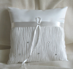 (W) Wedding P - Satin Ring Bearer Pillow with Pleats and Crystals - Ivory RPI143-T or White RPW143-T