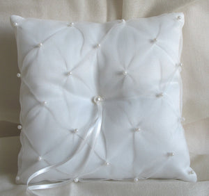 (W) Wedding P - Chiffon and Pearls Ring Bearer Pillow - Ivory RPI29-T or White RPW29-T