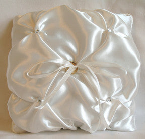 (W) Wedding P - Gathering Satin with Crystals Ring Bearer Pillow - Ivory RPI97817-T or White RPW97817-T