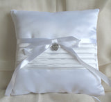 (W) Wedding P - Satin Ring Bearer Pillow with Pleats, Heart Charm and Large Satin Bow - Ivory RPI128-T or White RPW128-T