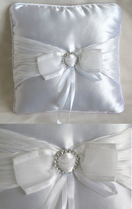 (W) Wedding P - Silver Clasp Ring Bearer Pillow - White - RPW97813-T