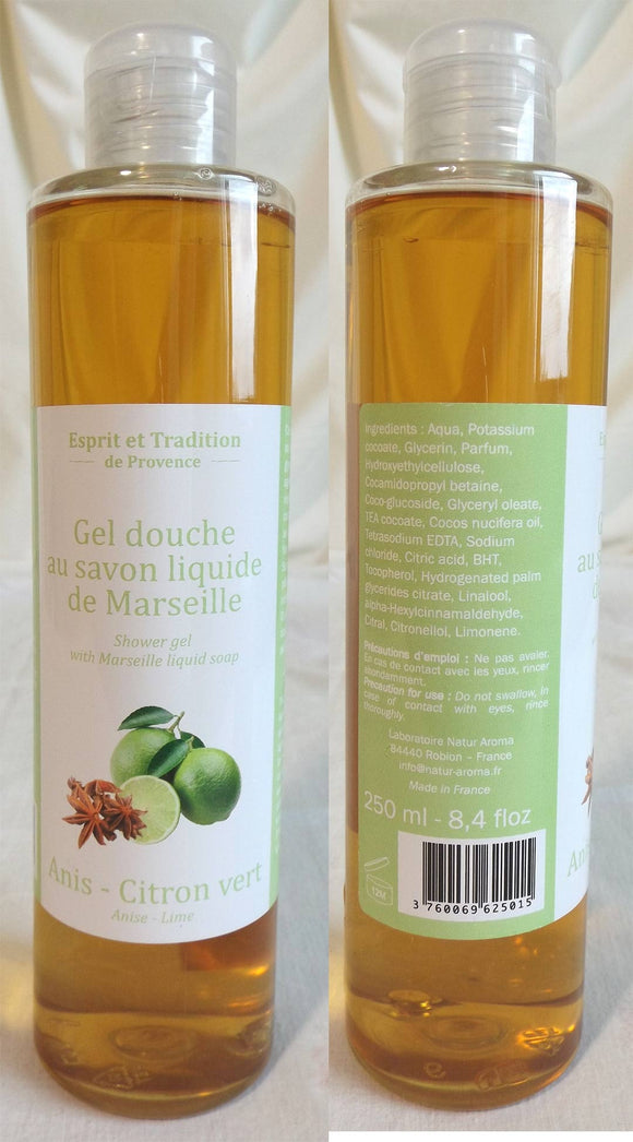 (S) Shower gel 250 ml with Marseille soap - LIMITED STOCK- Anise-Lime Fragrance