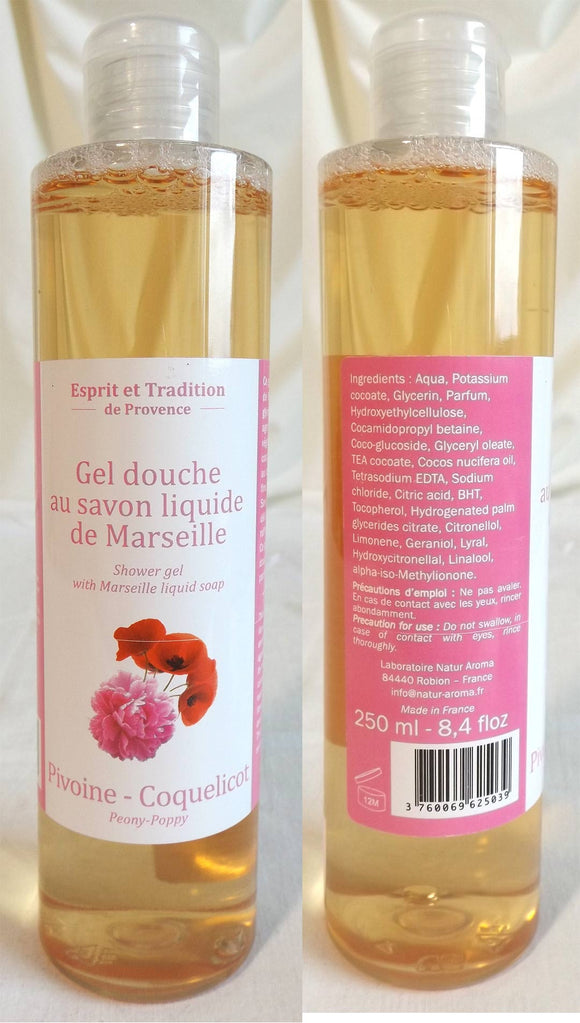 (S) Shower gel 250 ml with Marseille soap - LIMITED STOCK- Peony-Poppy Fragrance