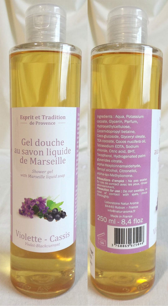 (S) Shower gel 250 ml with Marseille soap - LIMITED STOCK- Violet-Blackcurrant Fragrance
