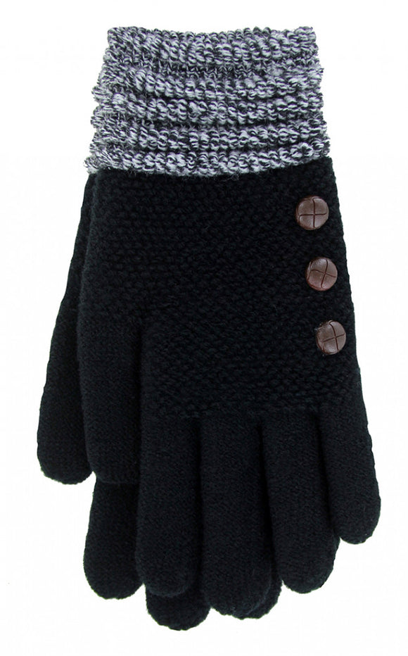 (FC) Britt's Knits Ultra-Soft Gloves - Black with Charcoal Cuffs