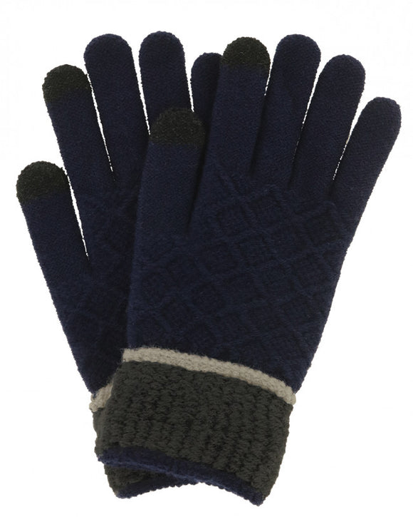 (FC) Britt's Knits Men's Knitted Gloves - Navy with Charcoal Cuff