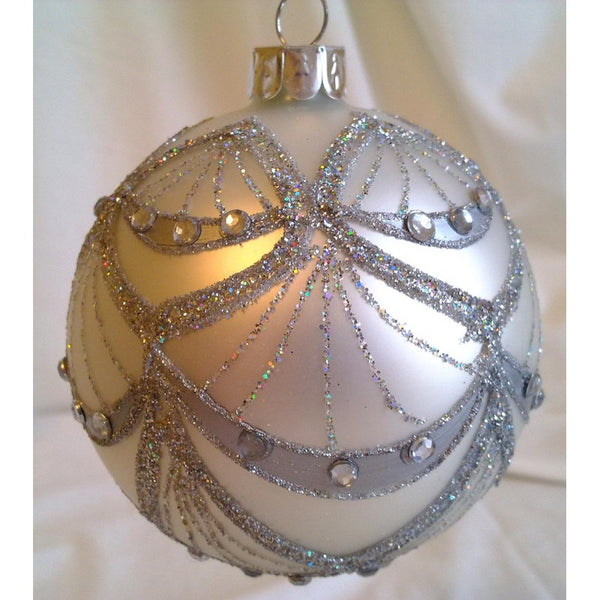 Glass Ball Christmas Ornament  12 10 8cm *C Silver w Crystals* CTB0727-1-T