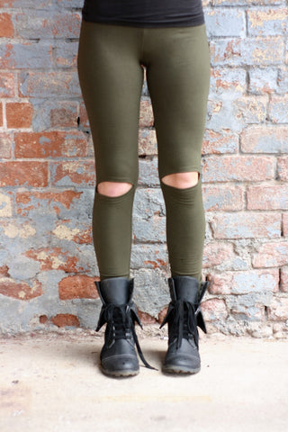 Cut Out Leggings Olive