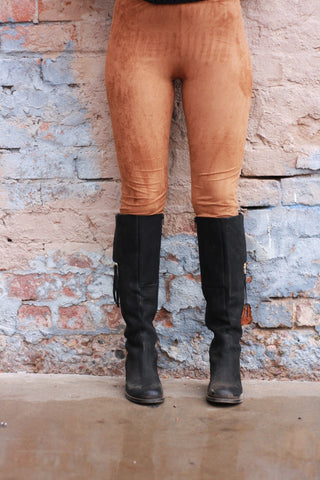 Suede Camel Leggings