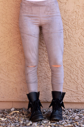Cut Out Suede Leggings