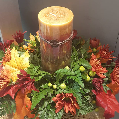 Fall centerpiece with candle