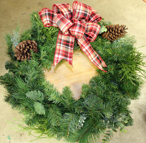 Fresh Pine Wreath with Bow