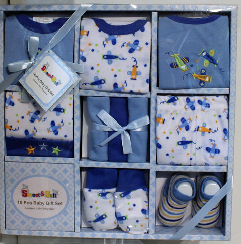 A 10 piece clothing gift box for a baby boy.