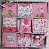 A 10 piece clothing gift box for a baby girl.