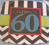 A black and white striped balloon with a green stripe with a square in the center saying celebrate 60.