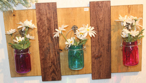 Wooden Wall Hanging with Jars