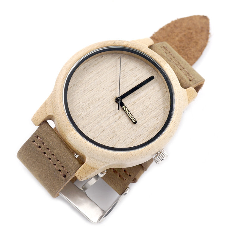 BOBOBIRD Bamboo Wood Quartz Analog Watch