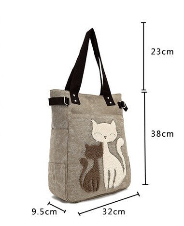 Cat Tote Embrodiered Bag