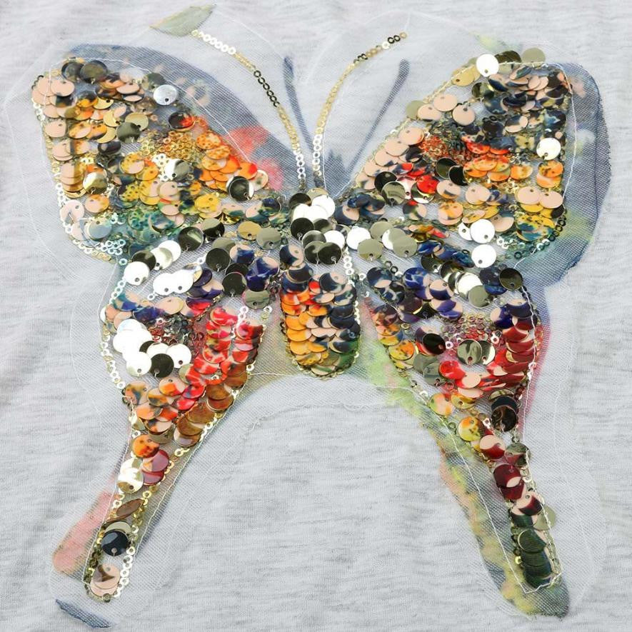 Sequined Butterfly V-Neck T-Shirt