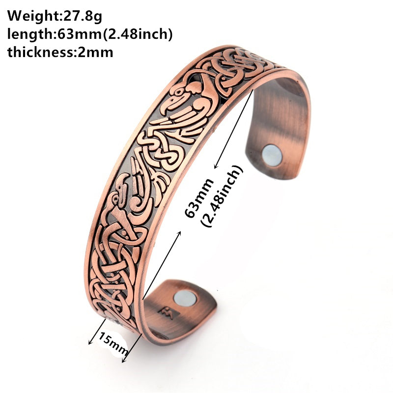 Phoenix Totem Antique Copper Tone Cuff Bangle With Two Magnetic Stones For Health Zinc Alloy