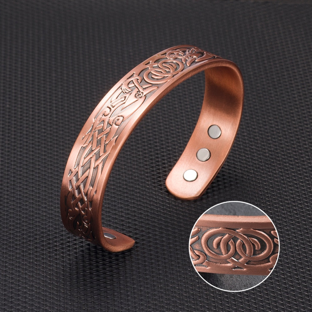 Pure Copper Magnetic Bracelet for Men or Women, with 8 Magnets 3500 Gauss - Recovery & Pain Relief - Arthritis, Carpal Tunnel