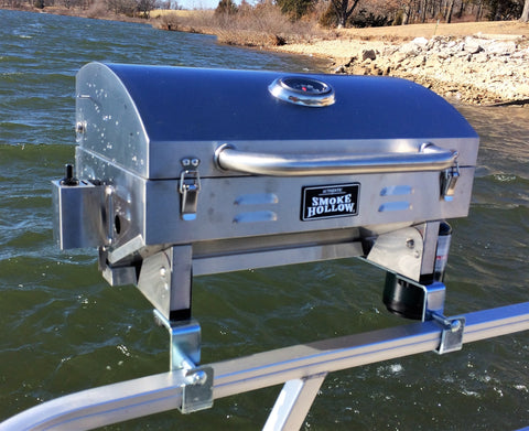 Stainless Steel Smoke Hollow Grill with Pontoon Rail Mounts