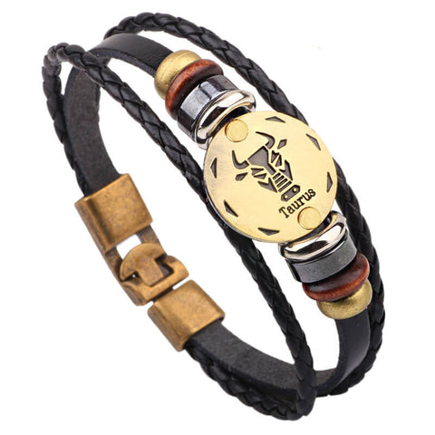 "Bracelet ""12 Constellations Attraction"" Handmade. Genuine  Leather & Bronze,  High Quality 2016"