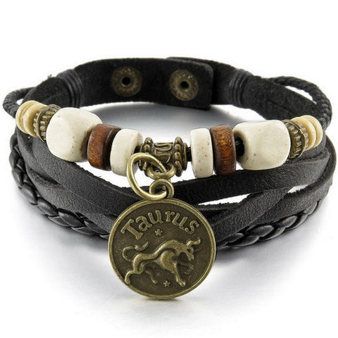 "Bracelet ""12 constellations Triumph"" Handmade. Genuine leather. HQ2018."