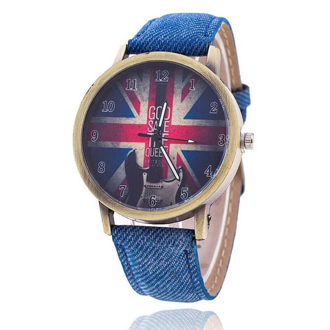 "Quartz watch ""God Save The Queen"". Stainless steel & Jean. Exclusive Edition 2017."