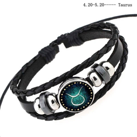 "Bracelet ""12 Constellations Protection"" Genuine Leather and Stainless Steel. High Quality. Free Shipping"