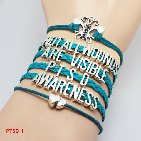 "Bracelet ""Not All Wounds Are Visible"" PTSD. HQ2017."
