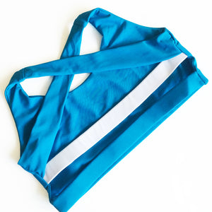 Sea Breeze in Caribbean Blue & White,sports bra - Valleau Apparel