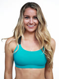 Teal workout sports bra with black straps- Valleau Apparel