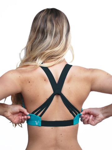Cheer sports bra in teal with black straps - Valleau Apparel