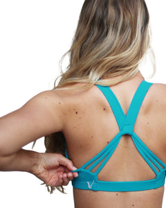 Pretty teal sports bra with supportive straps  - Valleau Apparel