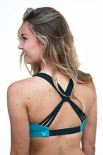 Load image into Gallery viewer, Cheer Squad sports bra in Teal and Black,sports bra - Valleau Apparel