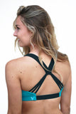 Cheer Squad sports bra in Teal and Black,sports bra - Valleau Apparel