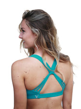 Load image into Gallery viewer, Blue green supportive sports bra - Valleau Apparel