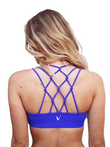 Blue strappy sports bra with knots - Valleau Apparel