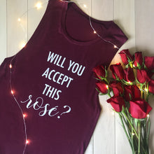 Load image into Gallery viewer, Will You Accept This Rośe? Muscle Tank-Maroon